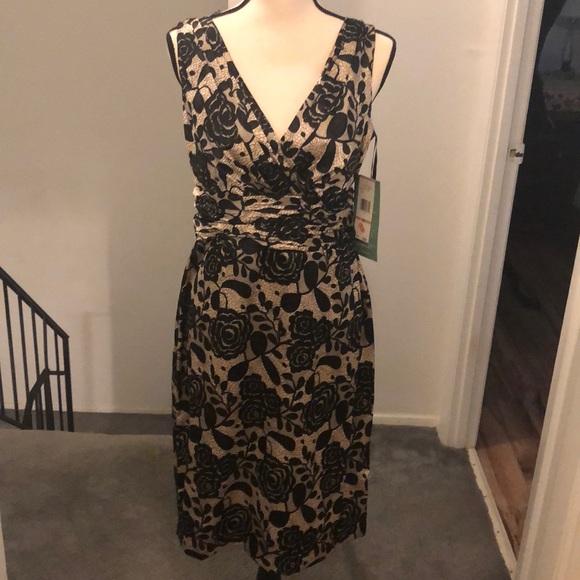 Jones Wear Dresses & Skirts - Black and Tan. Lace LOOK! Cocktail dress.